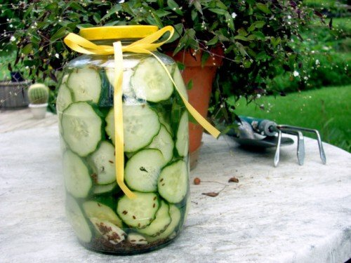 Jar of crock pickles