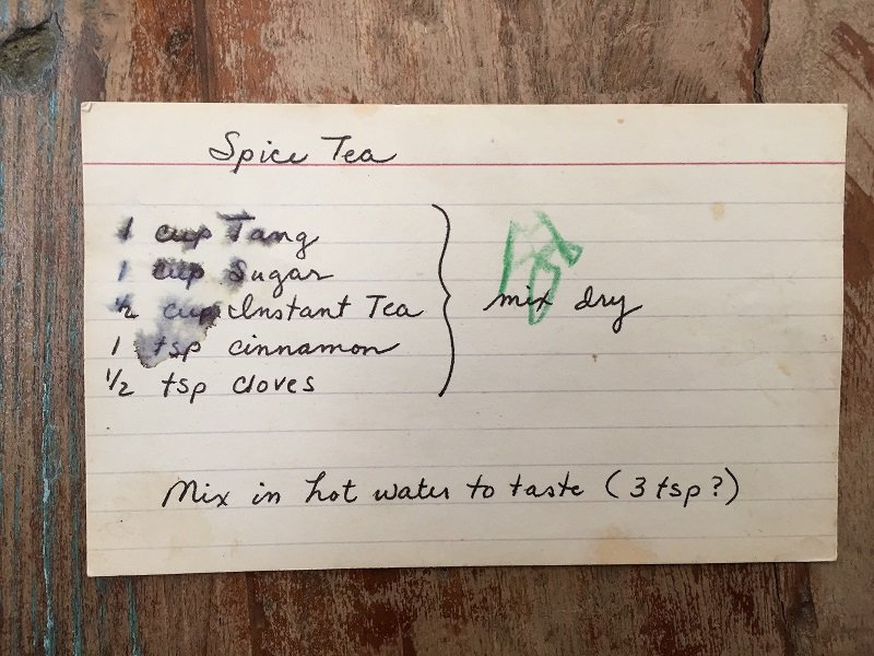 recipe card for orange spice tea mix with cinnamon cloves and tang