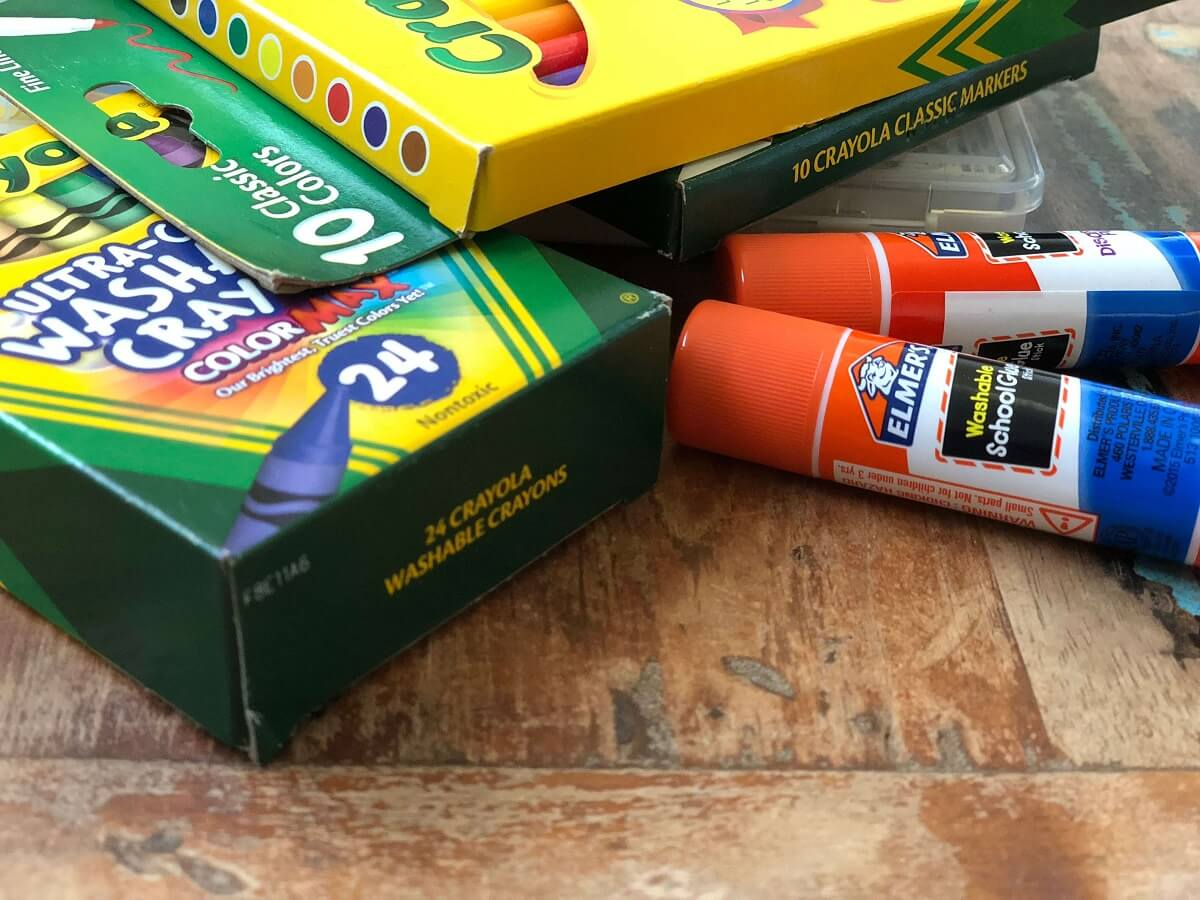 crayola back to school items, and elmers glue stick, unique back to school tips