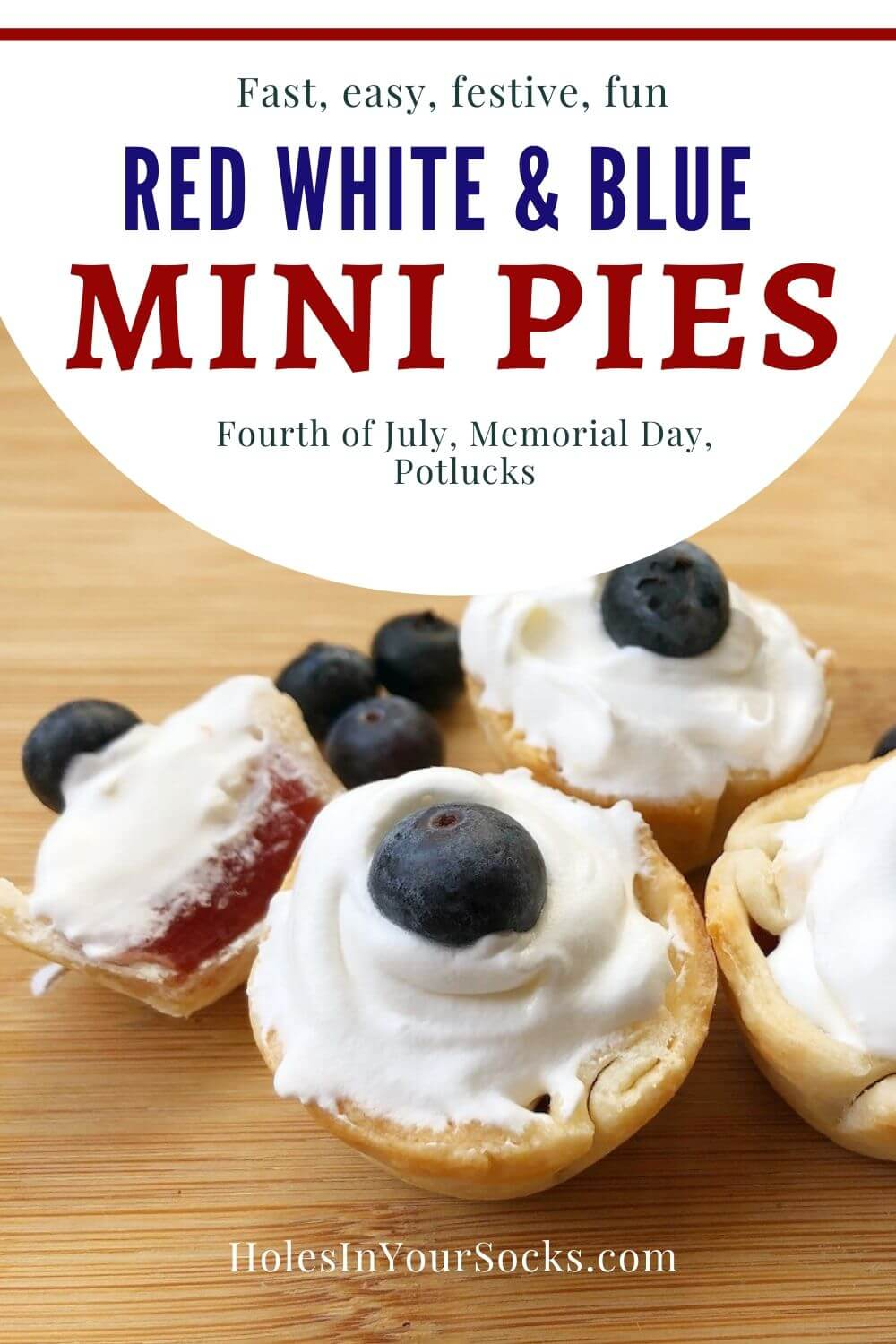 strawberry mini pies with whipped cream and blueberry