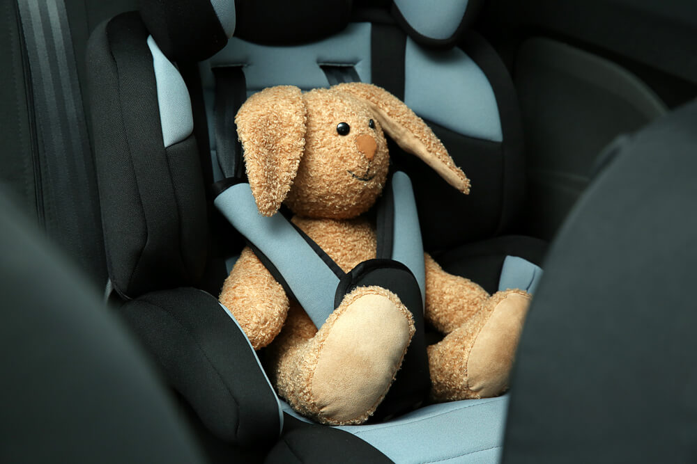 stuffed bunny in a car seat